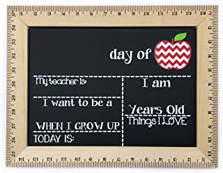 First Day of School Chalkboard, Chevron Apple, Reusable Sign Board with Wooden Ruler Frame, Handmade
