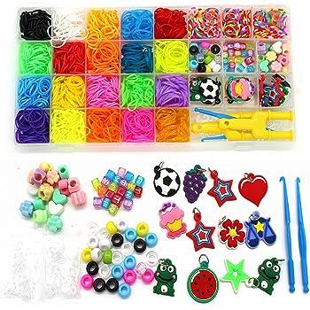 11750 Rainbow Rubber Bands Refill Kit Loom Bands Bracelet Making Kit for Kids
