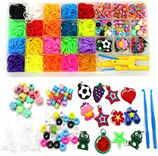 Rubber Bands Refill Kit-Assorted Colors Loom Bands(2000+)-24 S-Clips, 2 Y Looms, 60 Beads, 10 Charms, 2 Backpack Hooks,Cro...