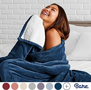 Bare Home Sherpa Fleece Blanket - Throw/Travel - Fluffy & Soft Plush Bed Blanket - Hypoallergenic - Reversible - Lightweight (Throw/Travel, Dark Blue)