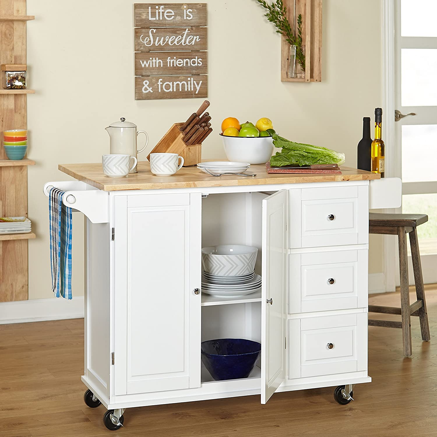 Amazon Com Kitchen Islands On Wheels Drop Leaf Utility Cart Mobile Breakfast Bar With Storage Drawers Towel And Spice Rack Bundle Includes Bonus Kitchen Conversion Chart Magnet From Designer Home Kitchen White Furniture