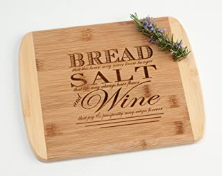 Engraved Wood Cutting Board Housewarming Gift, Bread Salt Wine Quote from It's a Wonderful Life on Two Tone Bamboo