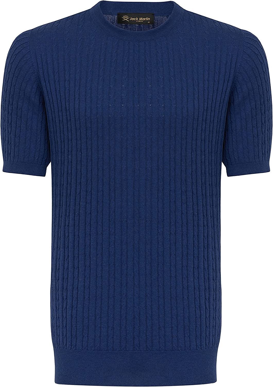 Mens Vintage Shirts – Casual, Dress, T-shirts, Polos Jack Martin - Pure Cotton Knitted T Shirt in Braided Pattern - Mens Knit Shirts  AT vintagedancer.com
