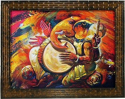 Indianara Ganesha Painting -Synthetic Wood, 27x30.5x1cm, Multicolour