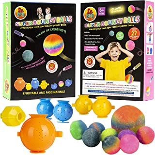 DIY Super Bouncy Balls Set - Make Your Own Bouncy Balls, Crystal Power Craft Kit for Kids w/Multi-colored and Glow in the Dark Powders, Molds, Glitter, Illustrated Instructions and more - Age 6-12