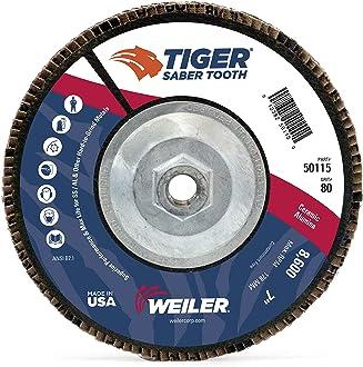 Phenolic Backing Weiler 50135 Saber Tooth 5//8-11 Arbor Flat High Density Abrasive Flap Disc 80 Grit Ceramic 4-1//2 Diameter