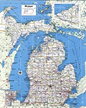 Home Comforts Large Detailed Administrative map of Michigan State with Roads and Cities Vivid Imagery Laminated Poster Print 24 x 36