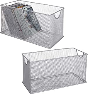 MyGift Silver Mesh Metal Open CD Storage Bins, Set of 2