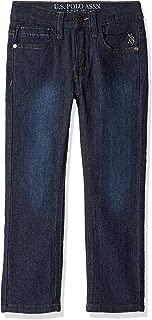 U.S. POLO ASSN. Little Boys' Straight Leg Jean, Rip Repair Washed Indigo, 6