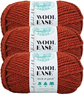 (3 Pack) Lion Brand Yarn 640-135 Wool-Ease Thick and Quick Yarn, 97 Meters, Spice