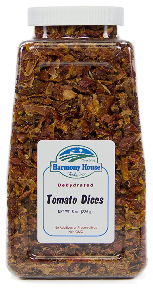 Harmony House Foods Dried Tomato Dices (8 oz, Quart Size Jar) for Cooking, Camping, Emergency Supply, and More