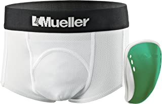 Mueller Athletic Support Brief with Flex Shield Cup, White/Green, Peewee Regular