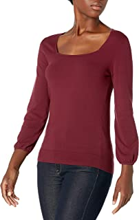 Lark & Ro suéter de Cuello Cuadrado de Manga 3/4 de Mezcla de Viscosa Premium Suéter para Mujer