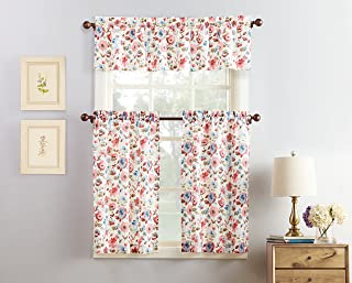 No. 918 Dora Floral Microfiber 3-Piece Kitchen Curtain Set, 54
