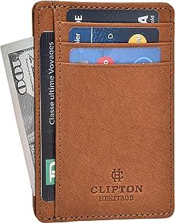 Clifton Heritage - portafolios de piel para hombre con bolsillo delantero y delgado
