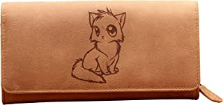 Genuine Leather Grey Ladies Flap Purse with added RFID Protection (Purr-Fect)