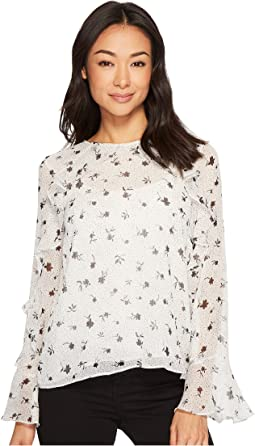 CeCe - Long Sleeve Dotty Silhouettes Ruffled Blouse