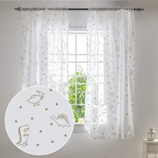 SEEKRIGHT Kids Dinosaur Sheer Curtains for Boys Room -...