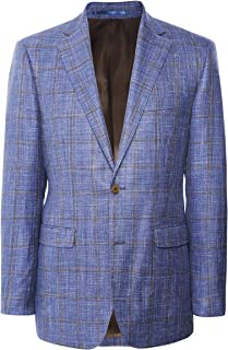Jules B Men's Linen Silk Windowpane Check Jacket Blue