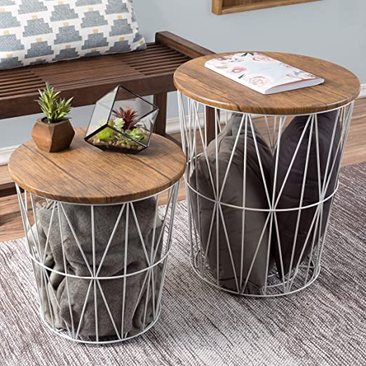 Lavish Home Convertible Round Metal Basket Veneer Wood Top Accent Side Home and Office Nesting End Tables with Storage- (Set of 2), White