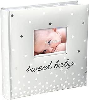 Malden International Designs Sweet Baby White Photo Opening Cover Photo Album, 160-4x6, White