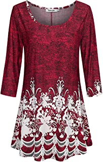 Tencole 3/4 Sleeve Shirts for Women Dressy Tunic Tops Casual Wear with Floral