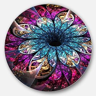 Designart Fractal Blue Red Digital Flower Metal Wall Art- Disc of 23, 23X23-Disc of 23 inch, Purple
