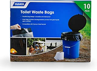 Camco Toilet Waste Durable Double Design is Leak-Proof, Inner Bag Gels Any Liquid, for Camping, Hiking and Hunting and More-10 (41548), 10 Pack