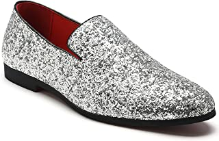 Men s Slip On Loafer Shoes Metallic Sequins Nightclub Shoes Textured  Glitter Loafers Luxury Wedding Shoes 640b6bdae290