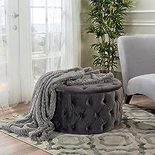 Great Deal Furniture Provence Dark Grey Tufted New Velvet Round Ottoman