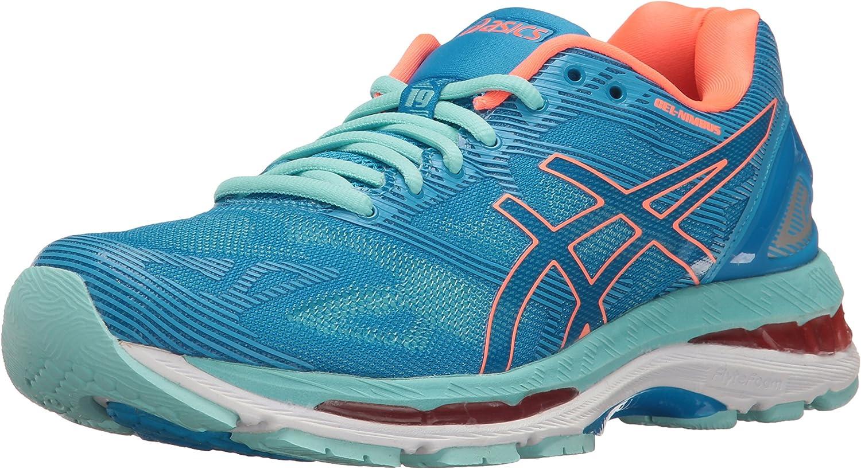 ASICS Women's Gel-Nimbus 19 Running shoes, Diva bluee Flash Coral Aqua Splash, 8 D US