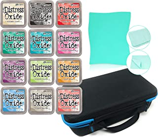 Tim Holtz Distress Oxide 12 Ink Pads Bundle June 2017 Collection with Pixiss 12 Ink Pad Carrying Case and Pixiss Stamp Cleaning Shammy