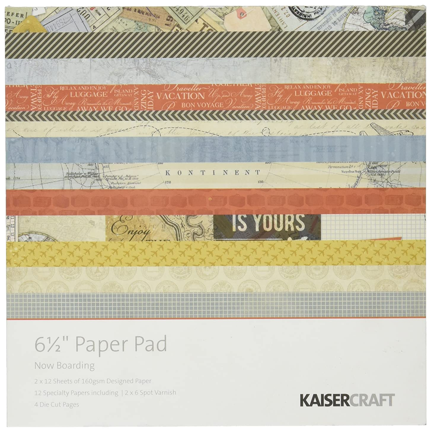 Kaisercraft PP929 Paper Pad, 6.5 by 6.5-Inch, Now Boarding, 40-Pack