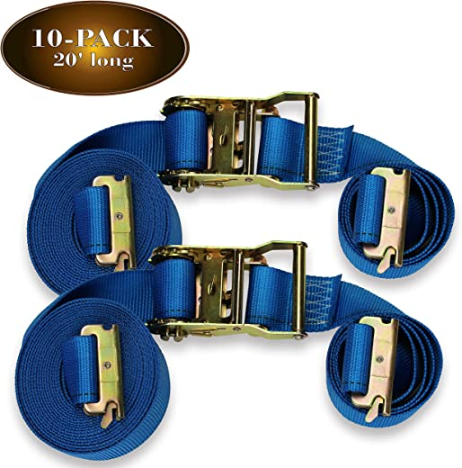 ✅Ten 2″ x 20′ E Track Ratcheting Strap Heavy Duty Cargo TieDowns, Durable Blue Polyester Tie-Down Ratchet Straps, ETrack Spring Fittings, Tie Down Motorcycles, Trailer Loads #Tools & Home Improvement Hardware