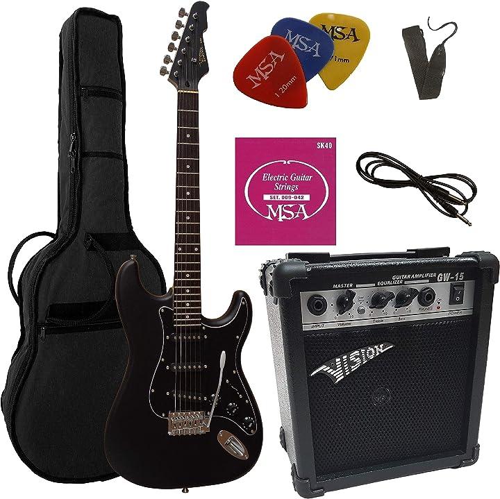 Chitarra elettrica nero satin - set con amplificatore da 20watt msa ST5 M