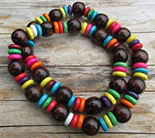 Handmade Products Boho pink white wooden beaded chunky necklace with coloured discs and gift bag