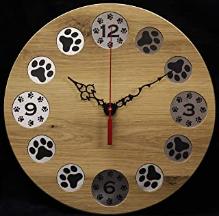 Round Oak Wall Clock with Etched Paw Prints on Stainless Steel MADE IN USA