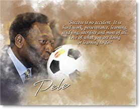 Ramini Brands Success is no Accident Pele Inspirational Quote - 8 x 10 Unframed Print - Wall Art for Bedrooms, Offices, Living Rooms - Stunning Gift for Soccer Players, Futbol Coaches and Fans