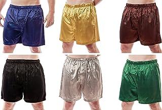 Up2date Fashion Men's 6 Satin Boxer Shorts Combo Pack, Six Boxers, Style MSC-6B01