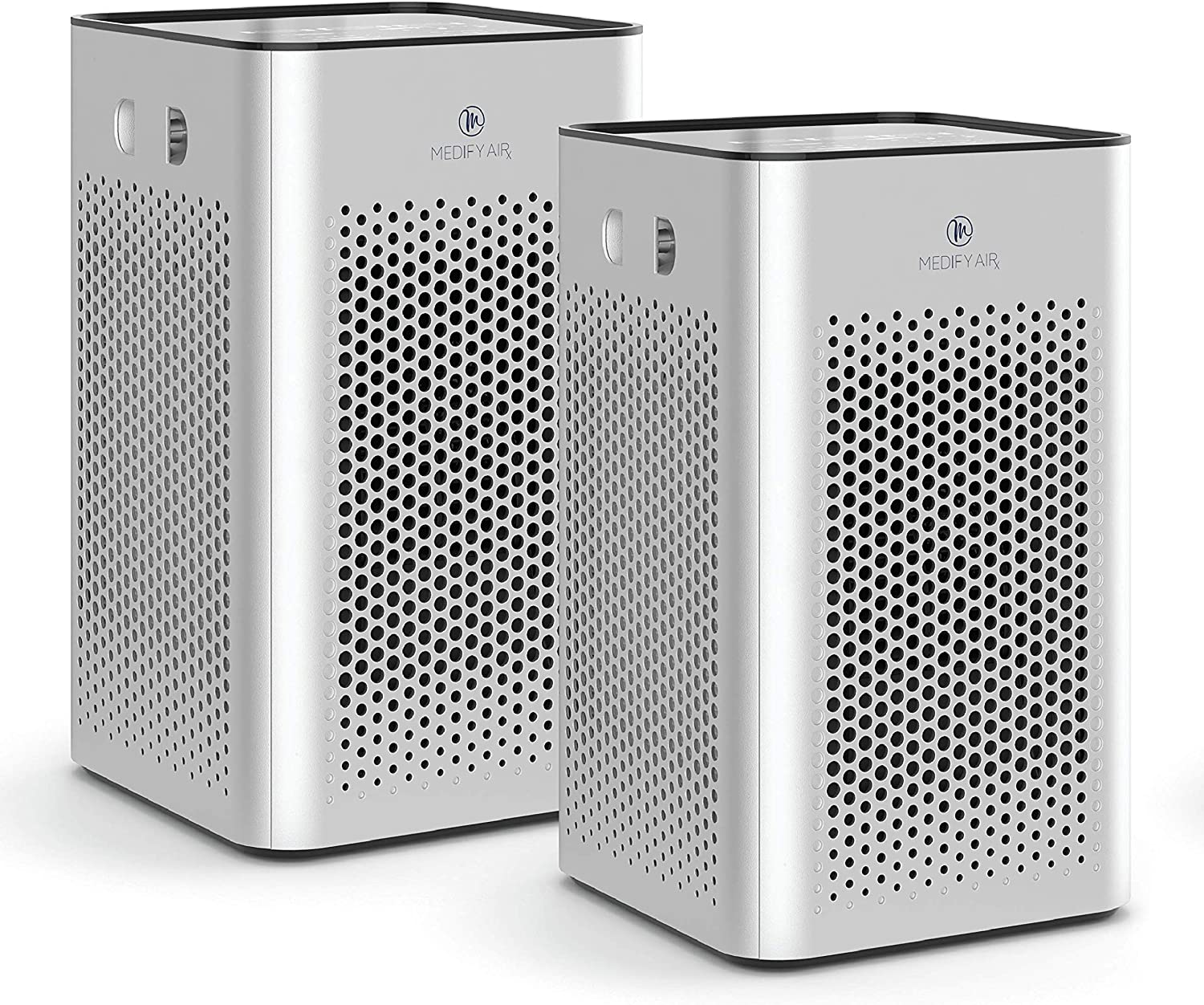 Medify MA-25 Air Purifier with H13 True HEPA Filter   500 sq ft Coverage   for Smoke, Smokers, Dust, Odors, Pet Dander   Quiet 99.9% Removal to 0.1 Microns   Silver, 2-Pack
