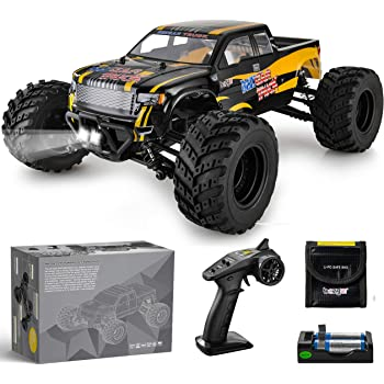 BEZGAR 1 Hobbyist Grade 1:12 Scale Remote Control Truck, 4WD High Speed 42 Km/h All Terrains Electric Toy Off Road RC Monster Vehicle Car Crawler with Rechargeable Batteries for Boys Kids and Adults