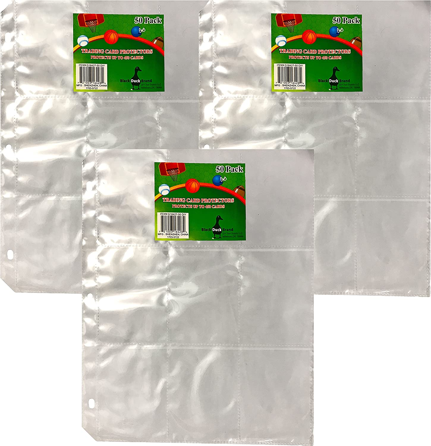 Trading Card Predector Sheets 9 Pocket X 150 Plastic Pages Holds 1,350 Cards -3 Ring Binder