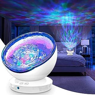 Ocean Wave Projector, 12LED Lampe Projecteur Veilleuse Enfant Lecteur de Musique avec Télécommande 8 Modes d'éclairage 6 M...