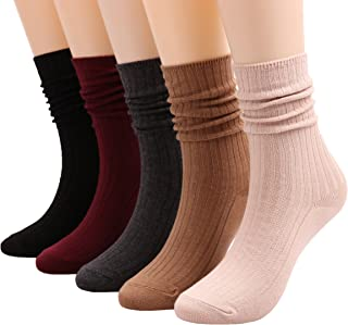 5 Pairs Womens Lightweight Cotton Casual Crew Knit Socks Solid Color,Size 5-10 A504