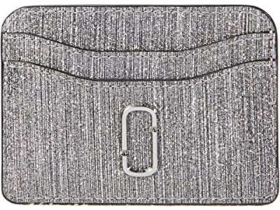 Marc Jacobs Snapshot Glitter Stripe New Card Case (Silver) Wallet Handbags