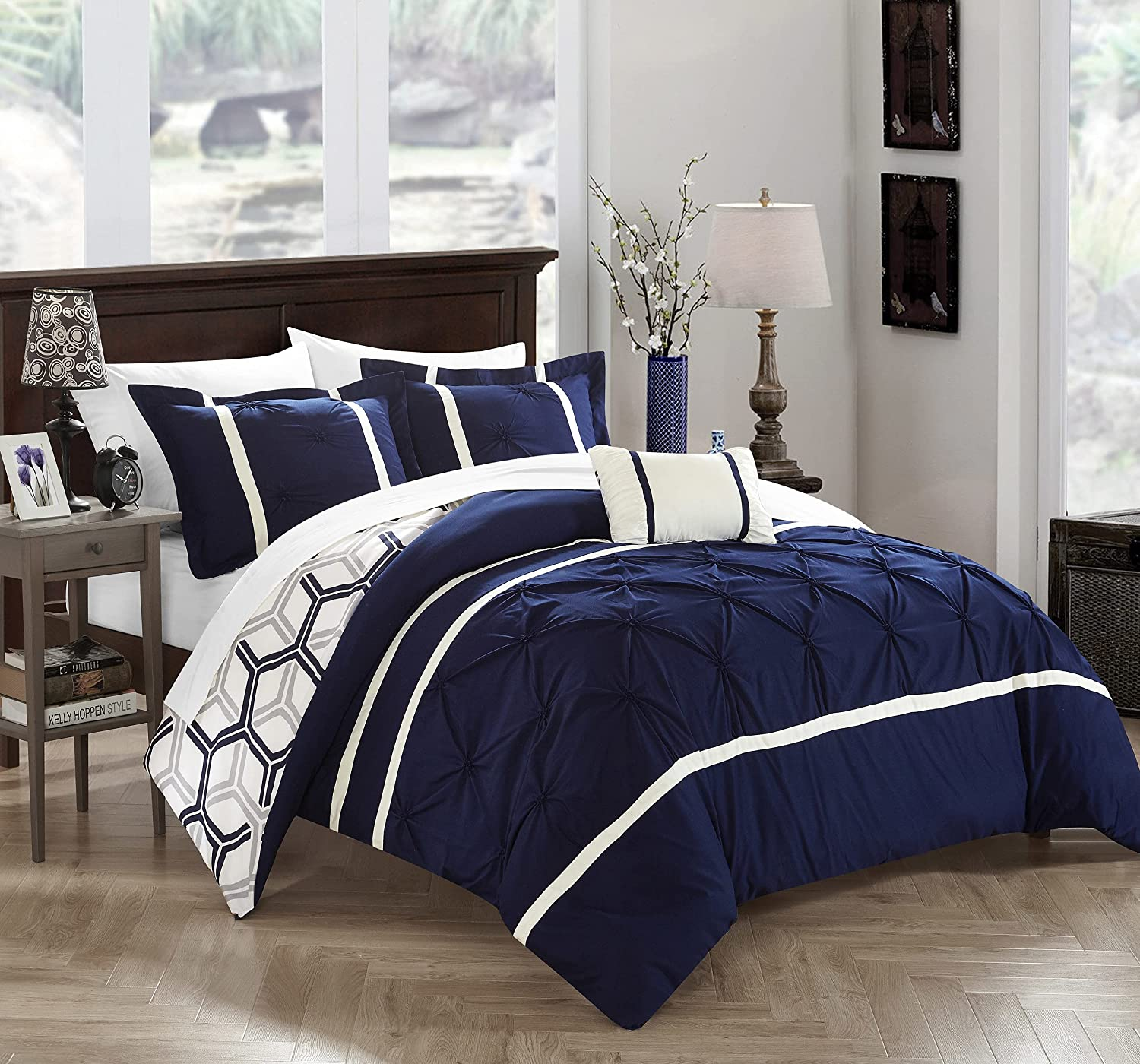 Chic Home 4 New product type Piece Marcia Pinch Ge Max 53% OFF and Reversible Pleated Ruffled