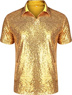 Men's Relaxed Short Sleeve Turndown Sparkle Sequins Polo Shirts 70s Disco Nightclub Party T-Shirts Tops S-XXL