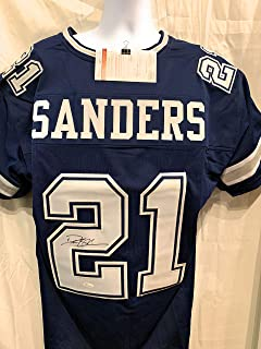 Deion Sanders Dallas Cowboys Signed Autograph Blue Custom Jersey JSA Witnessed Certified