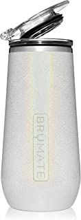 BrüMate 12oz Insulated Champagne Flute With Flip-Top Lid - Made With Vacuum Insulated Stainless Steel (Glitter White)