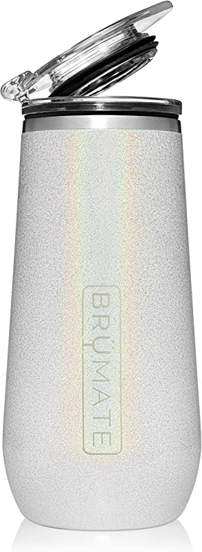Br Mate 12oz Insulated Champagne Flute With Flip Top Lid Made With Vacuum Insulated Stainless Steel Glitter White